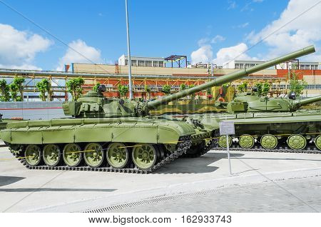 VERKHNYAYA PYSHMA RUSSIA - JUNE 11 2015: Russian Tank T-72 - exhibit of the Museum of military equipment.