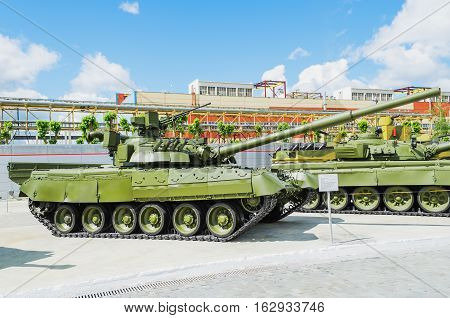 VERKHNYAYA PYSHMA RUSSIA - JUNE 11 2015: Russian Tank T-80UD - exhibit of the Museum of military equipment.