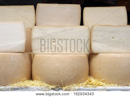 Pecorino, Italian sheep's milk cheese. Some cheese wheels in a street food market.
