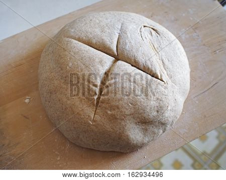 Food. Rise mixture of a bread loaf read to be cooked in the oven.