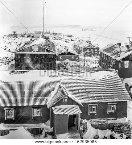 Snow-covered Island Of Dikson, Krasnoyarsk Krai.