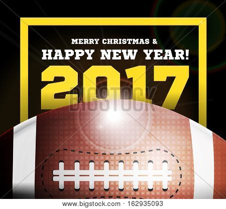 Happy New Year on the background of a ball for football. Vector illustration