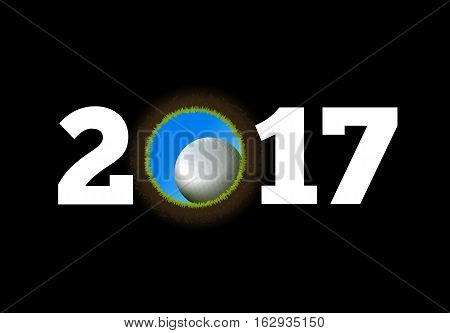 Happy New Year on the background of a golf ball falling into the hole. Vector illustration