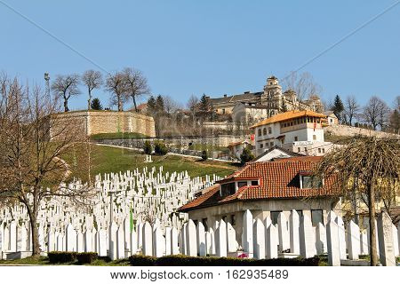 SARAJEVO, BOSNIA AND HERZEGOVINA-MAR. 20, 2015: The War Memorial and Cemetery Kovaci is the main cemetery for soldiers killed in the Bosnian War.