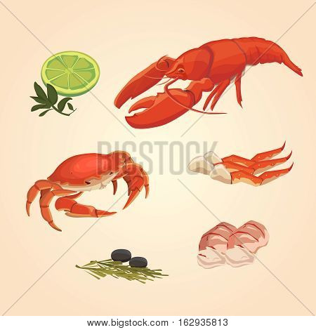 Watercolor seafood set. crawfish and crabs with lime and paper