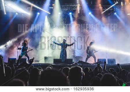 TOLMIN, SLOVENIA - JULY 27TH: METAL BAND DIE APOKALYPTISCHEN REITER PERFORMING AT METALDAYS FESTIVAL ON JULY 27TH, 2016 IN TOLMIN, SLOVENIA