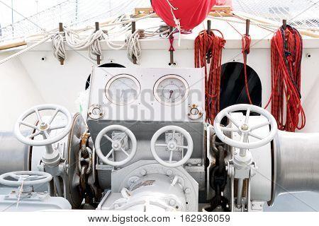 Ship anchor windlass. Braadspil on a tall ship