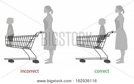 correct and incorrect to carry a child in the trolley for products. vector illustration.