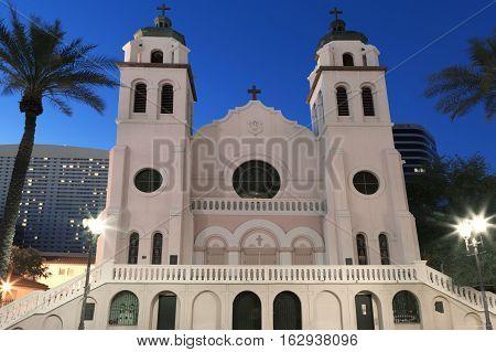 Sait Mary's Basilica in downtown Phoenix Arizona photographed at night.