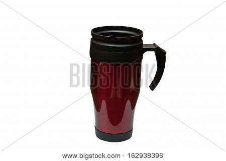 Red tumbler thermos-cup isolated on white background