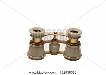 Theatre binoculars ivory isolated on white background