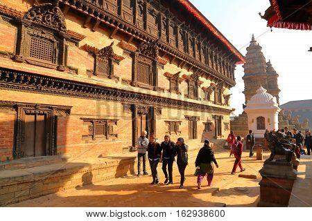 BHAKTAPUR, NEPAL - DECEMBER 29, 2014: The temples of Durbar Square at sunrise