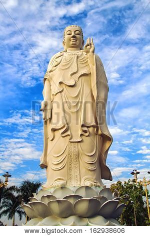 Huge Buddha statue at Vinh Tranh Pagoda in My Tho the Mekong Delta Vientam