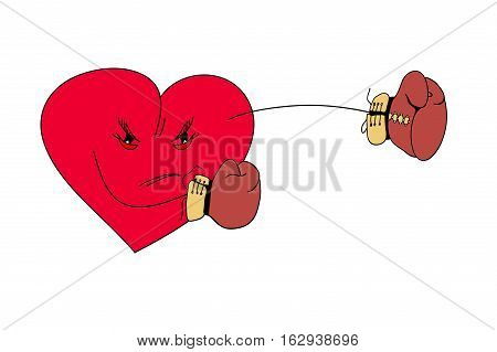 Boxing and gloves love and violence the boxer is a strength.