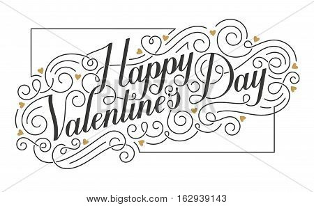 Happy Valentine's Day card. Hand drawn calligraphic inscription with swirls and hearts. EPS10 vector illustration.