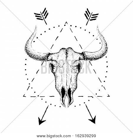 Skull of bull with horns.Vintage label.Retro design