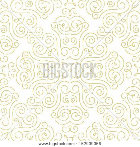 Seamless vintage wallpaper. Abstract background in gold. EPS10 vector illustration.