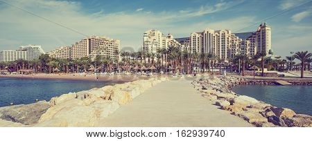 Central public beach with resort hotels in Eilat - number one resort in Israel