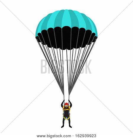 Skydiving school, academy illustration. Parachutist, extreme sport, skydiver. Illustration for skydivers club, paragliding company Flat style