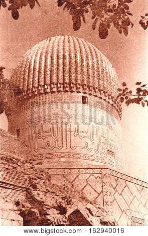 Upper part of Gur-Amir Mausoleum of the Asian conqueror Tamerlane in Samarkand Uzbekistan 1954