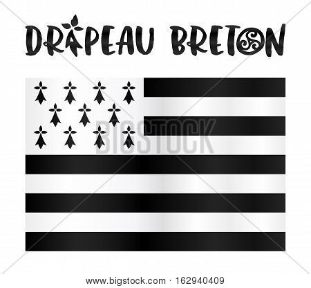 Vector Gwen-ha-du - black-and-white - flat Breton flag with stylized sign in French