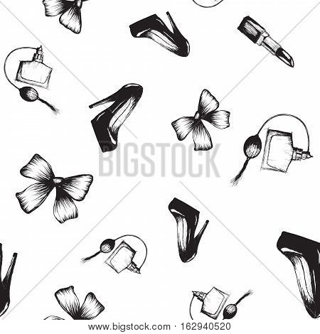 seamless pattern with shoe, bow, perfume and pomade.Vector hand drawn illustration