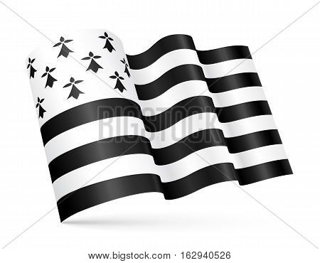 Vector Gwen-ha-du - black-and-white - 3D Breton waving flag isolated on white background