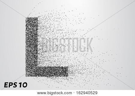 Letter L From The Particles. The Letter L Consists Of Circles And Points. Vector Illustration