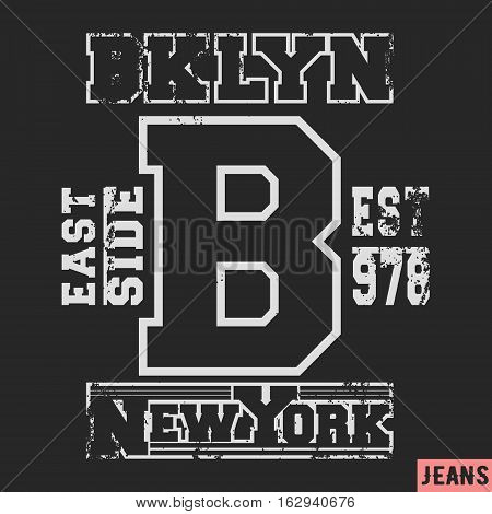 T-shirt print design. Brooklyn vintage stamp. Printing and badge applique label t-shirts, jeans, casual wear. Vector illustration.