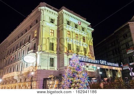 Vienna Austria-December 10 2016 : The cafe Landtmann was founded in 1873.It is legendary Viennese institution with regulars such as Sigmund FreudMarlene Dietrich Romy Schneider...