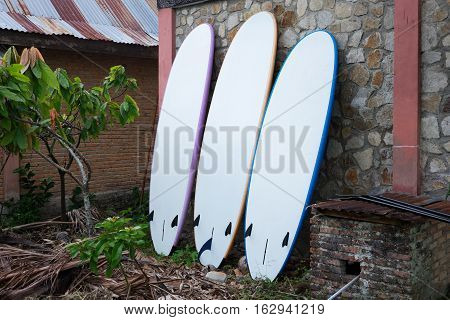 Paddleboards for rent standing near the wall at rural place