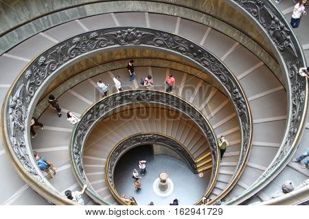 ROME, ITALY - October 13: The Bramante Staircase in Vatican on October 13, 2016. Double Helix Staircase in Vatican.