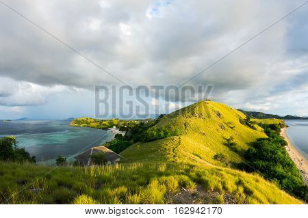 Overview of Seraya Island from the hill, East Nusa Tenggara, Indonesia