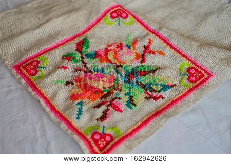 cross stitching patterns embroidered cloth old, textile