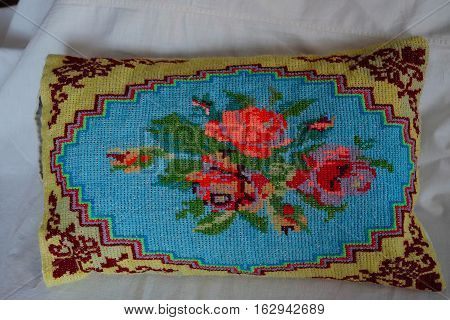 cross stitching patterns embroidered pillow old, textile