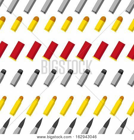 Pattern of different caliber bullets. Ammunition, guns, sniper rifle, machine gun, revolver, pistol, shotgun and other military stuff illustration. Vector illustration.