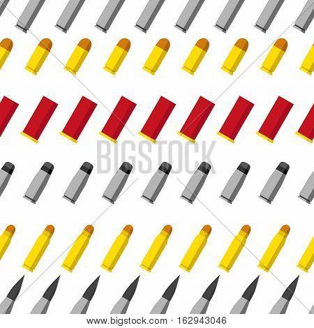 Pattern of different caliber bullets. Ammunition, guns, sniper rifle, machine gun, revolver, pistol, shotgun and other military stuff illustration. Vector illustration.