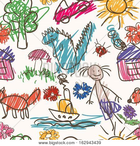 Vector seamless pattern. Hand drawn cartoon style. Colorful backdrop