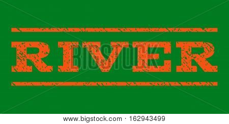 River watermark stamp. Text caption between horizontal parallel lines with grunge design style. Rubber seal stamp with dust texture. Vector orange color ink imprint on a green background.