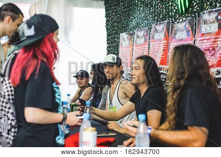 TOLMIN, SLOVENIA - JULY 29TH: BRITISH POWER METAL BAND DRAGONFORCE ON MEET'N'GREET WITH FANS METALDAYS FESTIVAL ON JULY 29TH, 2016 IN TOLMIN, SLOVENIA