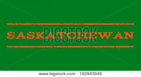 Saskatchewan watermark stamp. Text tag between horizontal parallel lines with grunge design style. Rubber seal stamp with unclean texture. Vector orange color ink imprint on a green background.