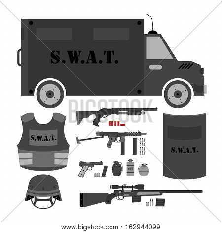 Vector set of swat, police gear. Swat bus, shield, helmet, shotgun, submachine gun, sniper rifle, bullets, three variations of grenades, bulletproof vest and pistol. Isolated flat style