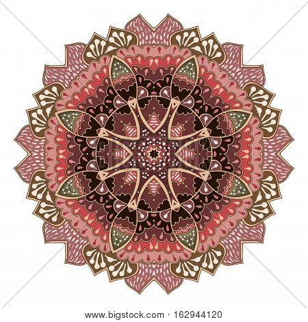 Vector rosette ornament. Colorful mandala. Vector snowflake