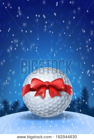 Golf ball tied with a red bow on blue background with snow. Vector illustration