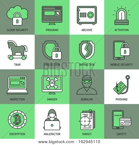 Internet security square icon set with descriptions of cloud security program mobile security target phishing and ext vector illustration