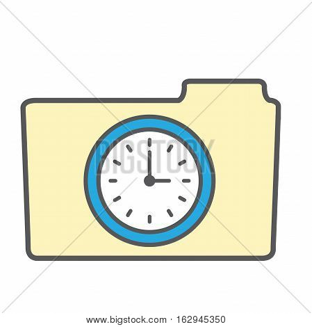 Image that illustrates tracking your time with file folder and clock