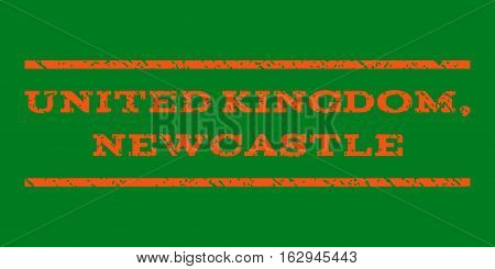 United Kingdom, Newcastle watermark stamp. Text caption between horizontal parallel lines with grunge design style. Rubber seal stamp with unclean texture.