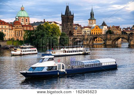 River boat cruise to Charel`s bridge and Vltava Prague Czech Republic