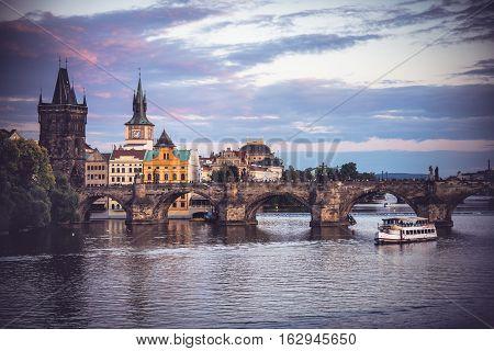 Charles Bridge (Stone Bridge Karlov most Prague Bridge Prazhski most) over Vltava river in Prague Czech Republic