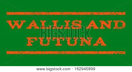 Wallis and Futuna watermark stamp. Text tag between horizontal parallel lines with grunge design style. Rubber seal stamp with dust texture. Vector orange color ink imprint on a green background.